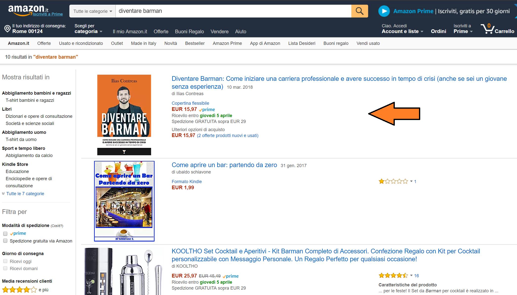 Diventare Barman Libro su Amazon