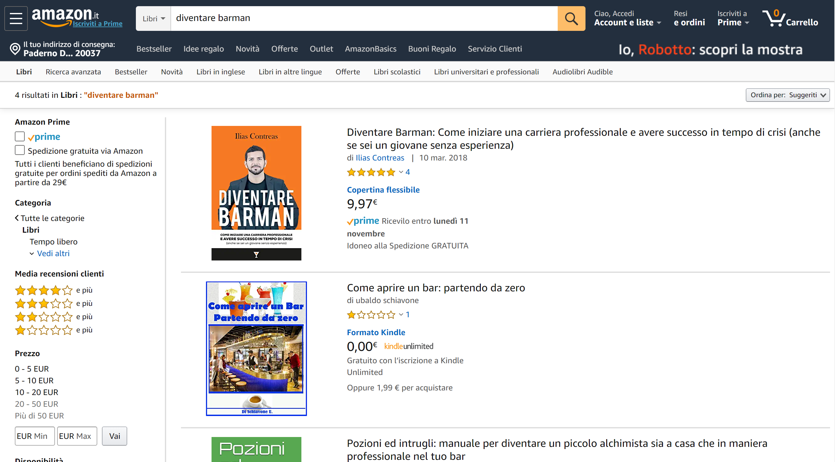 Diventare Barman Amazon